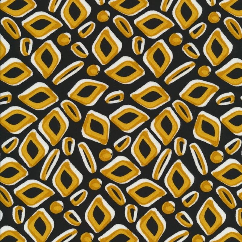 100% viscose med mønster i sort carry og hvid-316