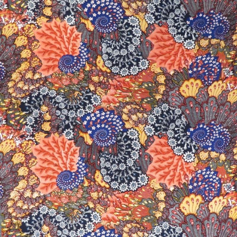100% viskose stor-mønstret i blå orange rød