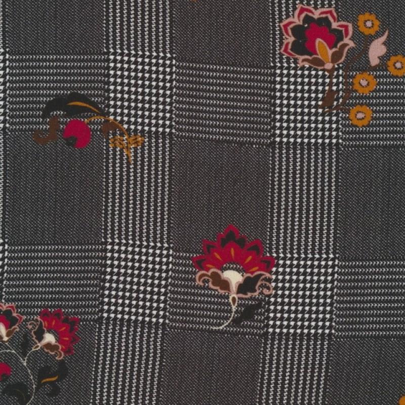 100% viskose sort og hvid ternet med blomster-024