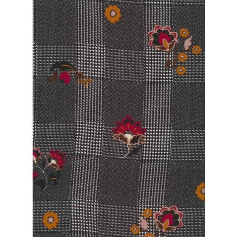 100% viskose sort og hvid ternet med blomster-324