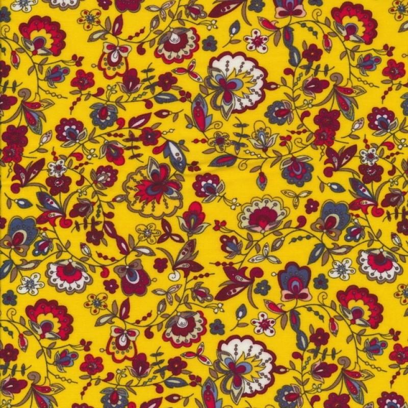 Let 100% viscose med blomster i gul rød hvid-39