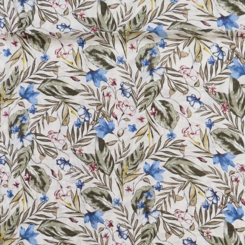 Voil i viskose/bomuld med blomster og blade i hvid army blå-39