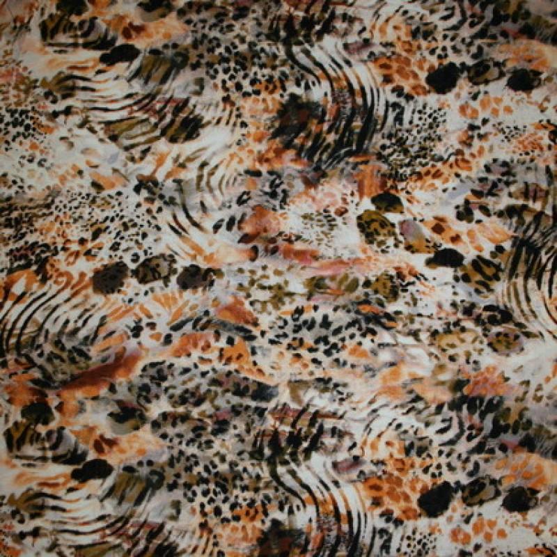 Rest Viscose/lycra m/dyreprint orange/grå/sort 50 cm.-35