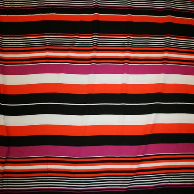 Rest Viscose/lycra m/striber pink/orange/sort/hvid 50 cm.-35