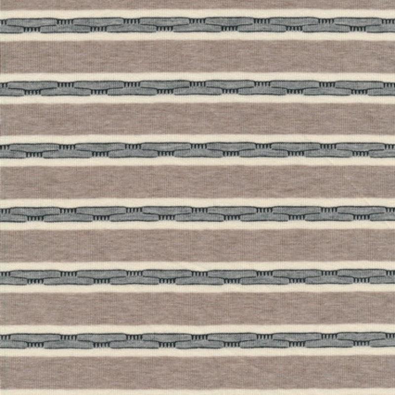 Rest Viscose/lycra m/striber pudder-brun/off-white/grå, 50 cm.-35