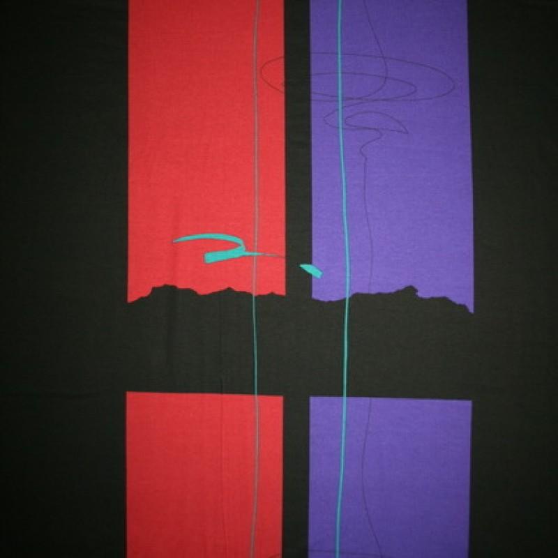 Rest Viscose/lycra m/stor firkant sort/bordeaux/rød-lilla 80 cm.-35