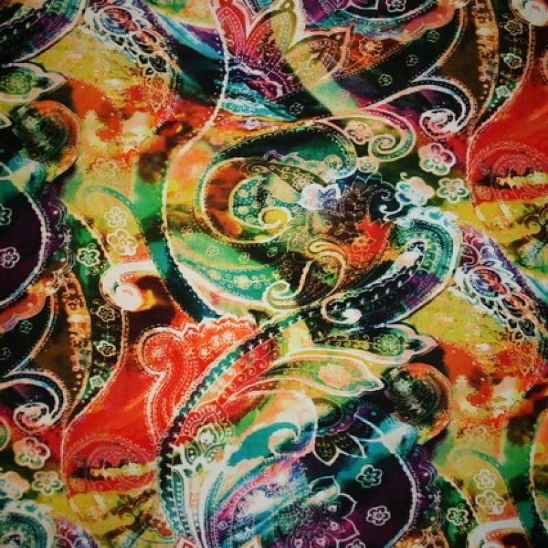 Rest Viscose/lycra m/digitalt print, orange/irgrøn/gul 35 cm.-35