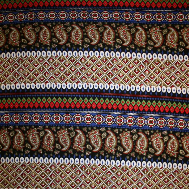 Afklip Viscose/lycra m/striber/mønster koboltblå/rød/sort, 100 cm.-31