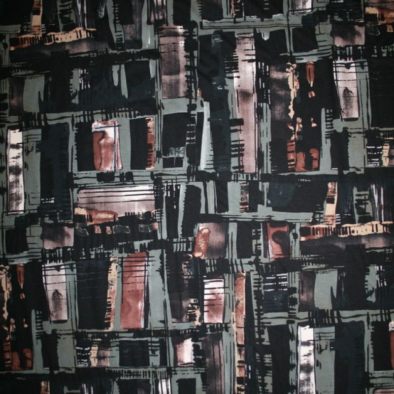 Rest Viscose/lycra mønstret sort/grå-grøn/rød-brun, 100 cm.-35