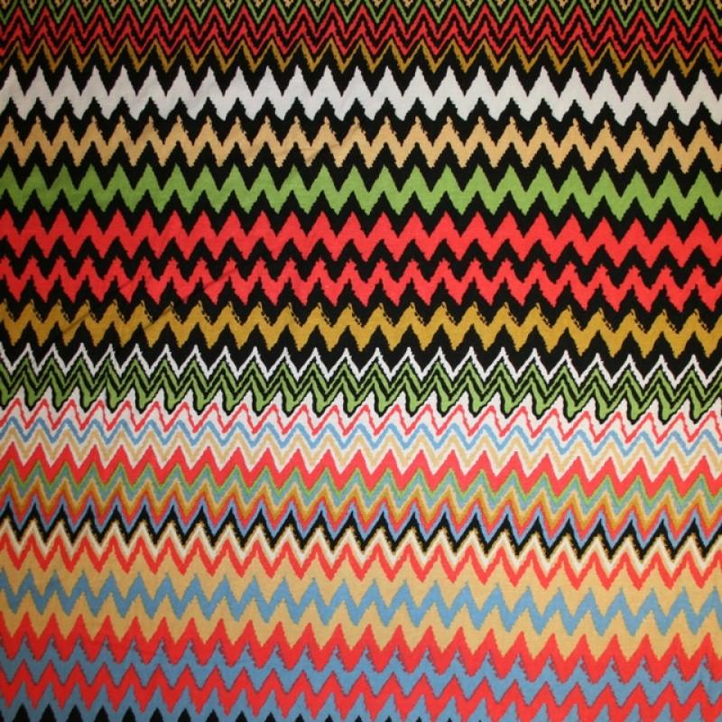 Rest Viscose/lycra m/zigzag koral/lyseblå/grøn/sort, 95 cm.-33