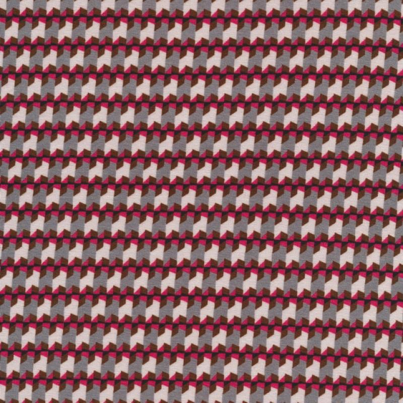 Små-mønstret viscose jersey grå lys grå koral-33
