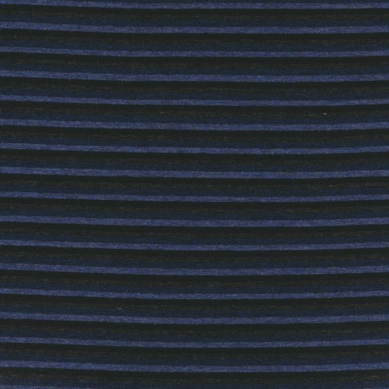 Viskose jersey smal- stribet i blå, denim og grå