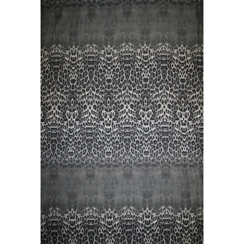 Viskose jersey med dyreprint i bred strib i beige grå sort