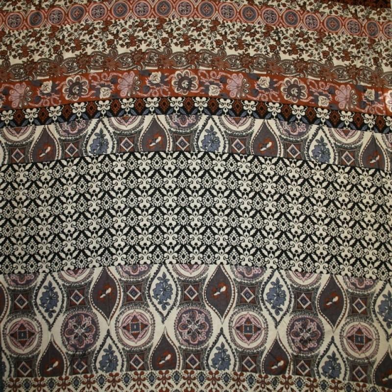 Viskose jersey med bred stribe mønster sand rosa brændt orange-016