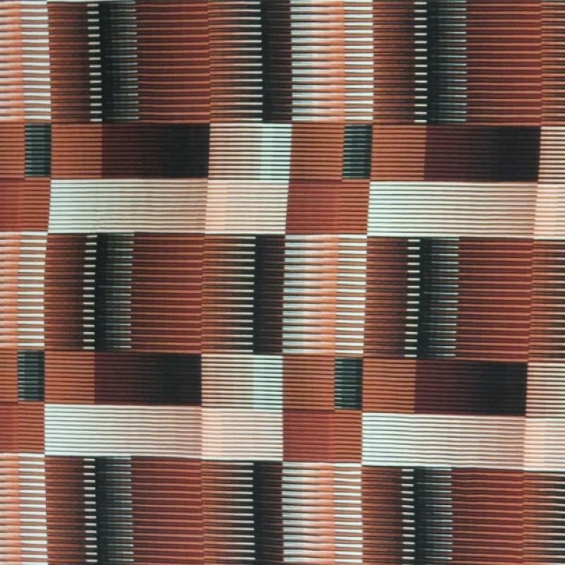 Rest Viscose/lycra med firkanter med smalle striber i brændt orange sort koral 115 cm.-313
