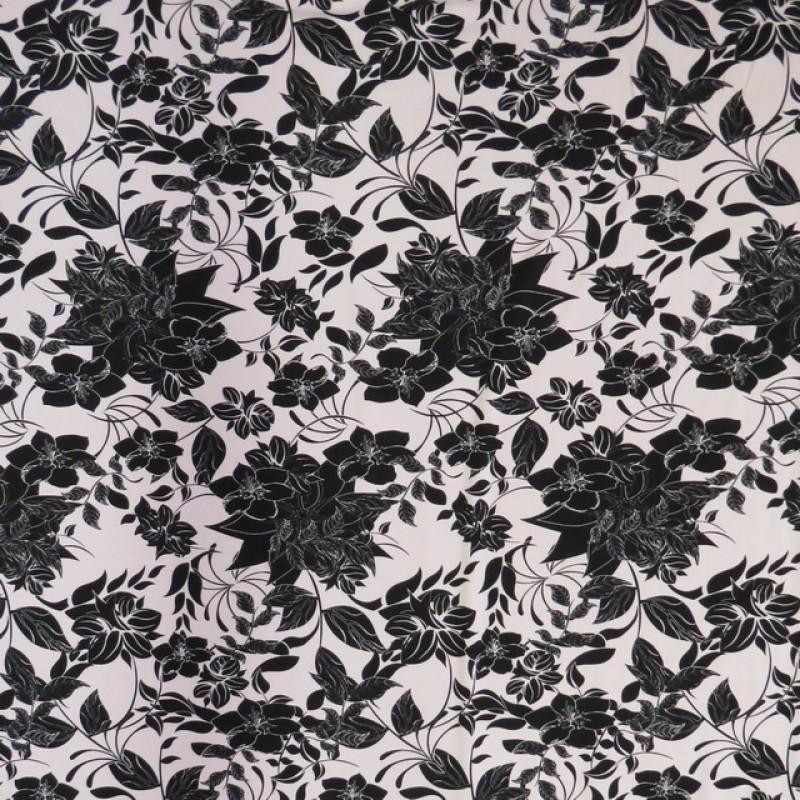 Rest Viscose/lycra med blomster i lys lyng og sort, 24-34 cm.-314