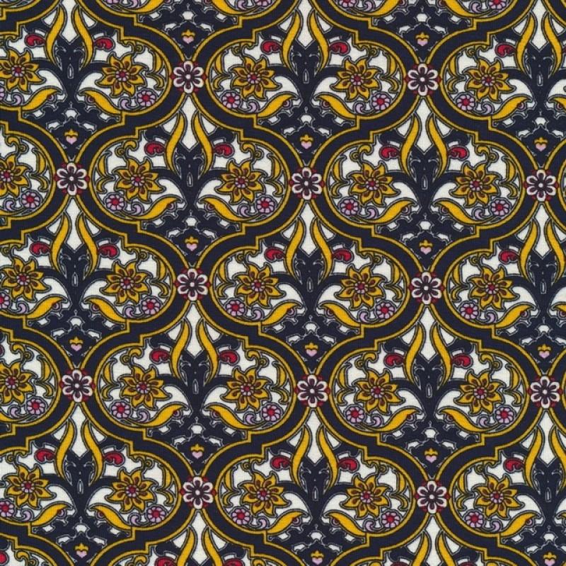 Viscose/lycra med cirkel mønster og blomst i gul-318