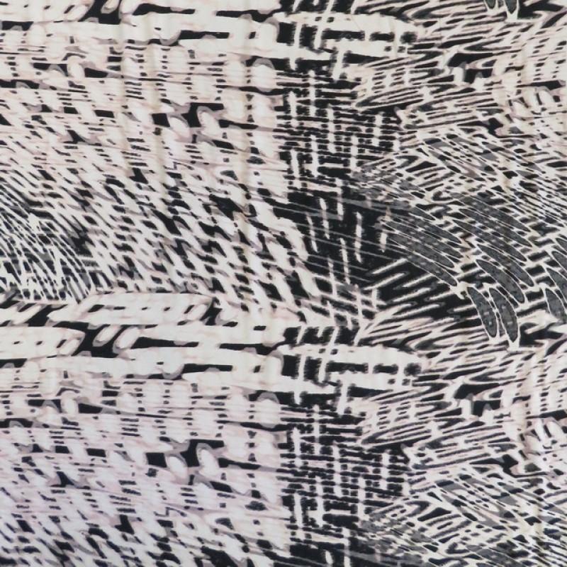 Afklip Jersey i Viscose/lycra mønstret i hvid sort babylyserød og grå- 100 cm.