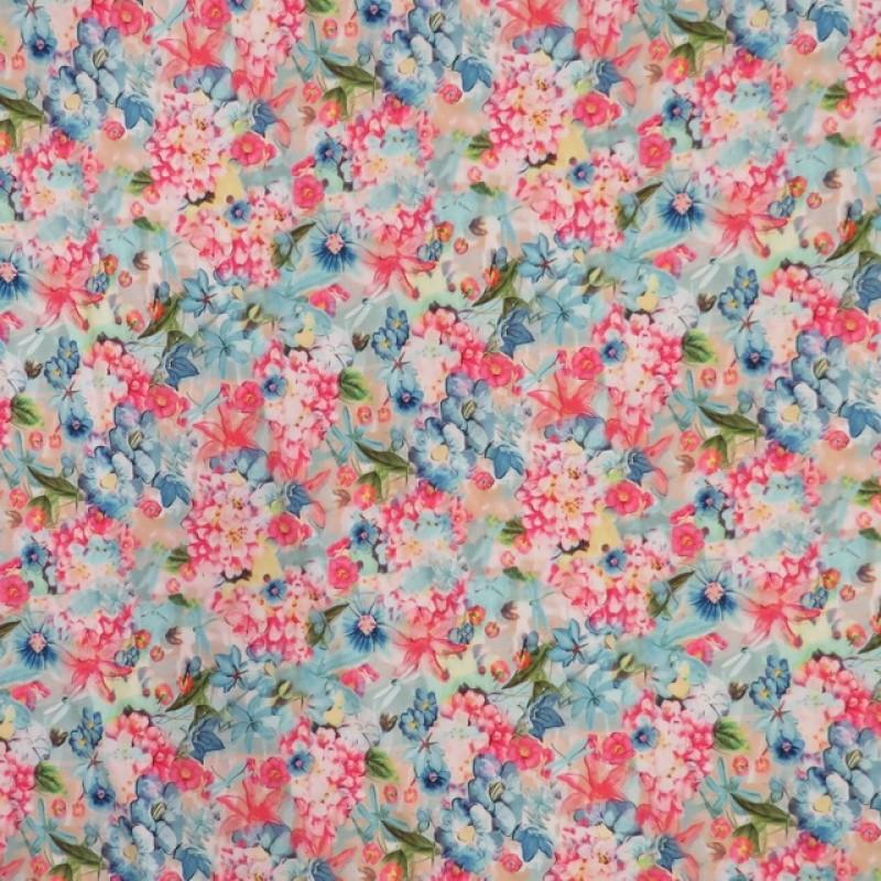 Viscose/lycra m/digitalt print med blomster i lys turkis pink blå-315