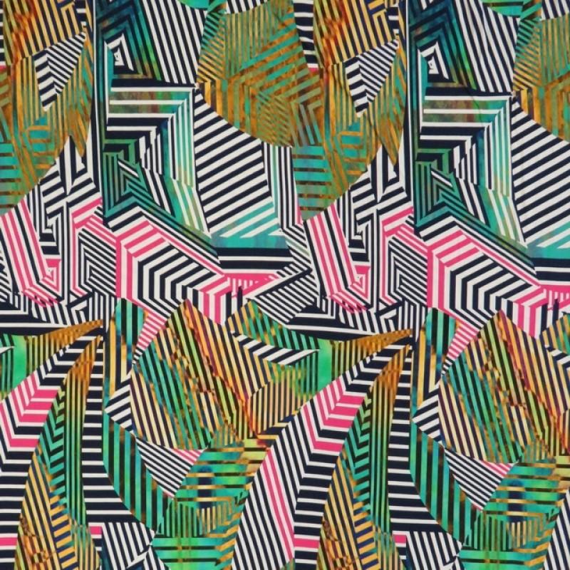 Viscose jersey med grafisk print multifarvet-313