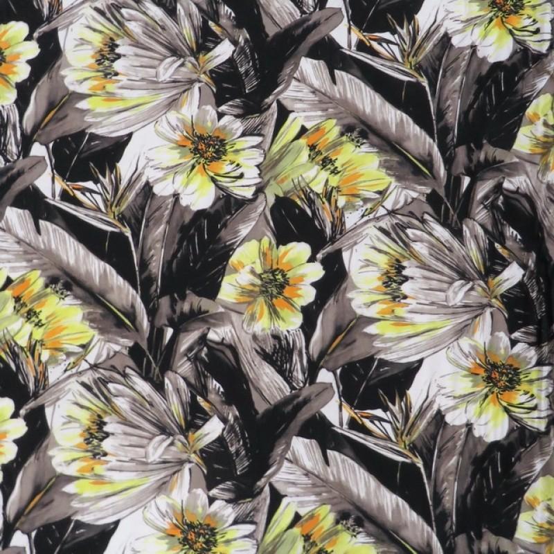 Jersey i Viscose/lycra digitalprint med store blomster i sort grå gul-325