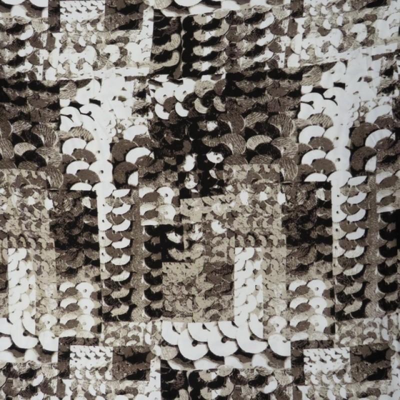 Afklip Jersey i Viscose/lycra digitalprint i palliet look i brun beige hvid og sort 100 cm.-330
