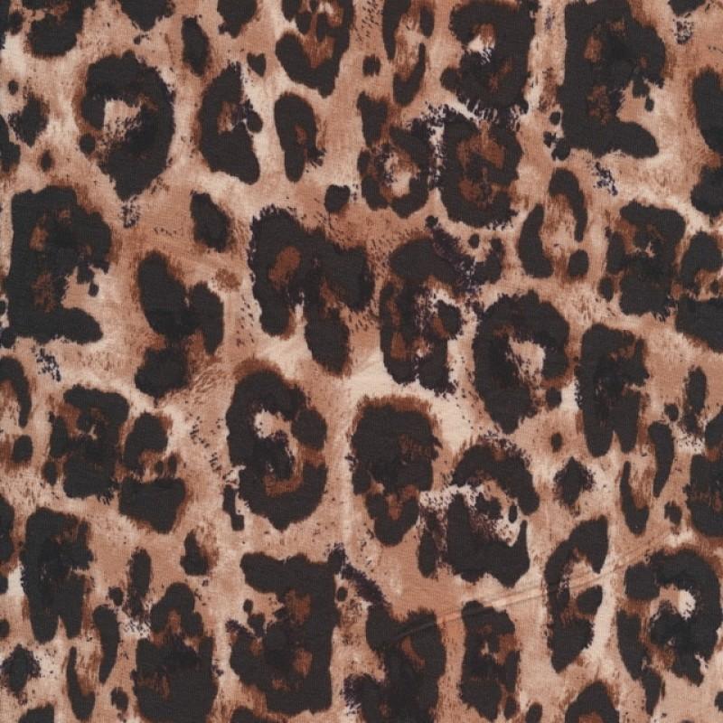 Afklip Viscose jersey med dyreprint i mørkebrun og pudderbrun 100 cm.-315