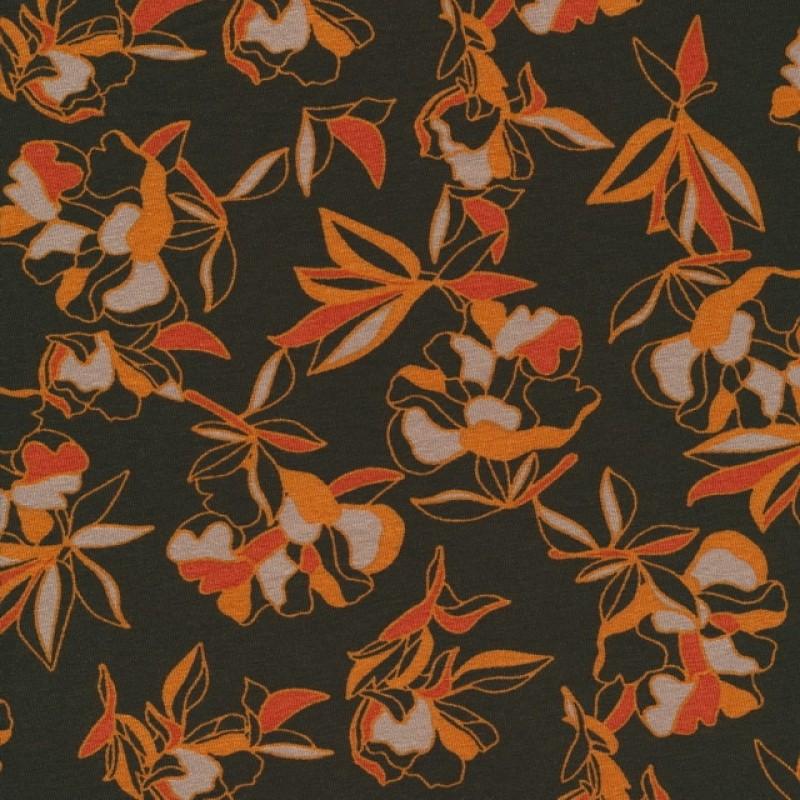 Viscose jersey i mørk army med orange blomster-319