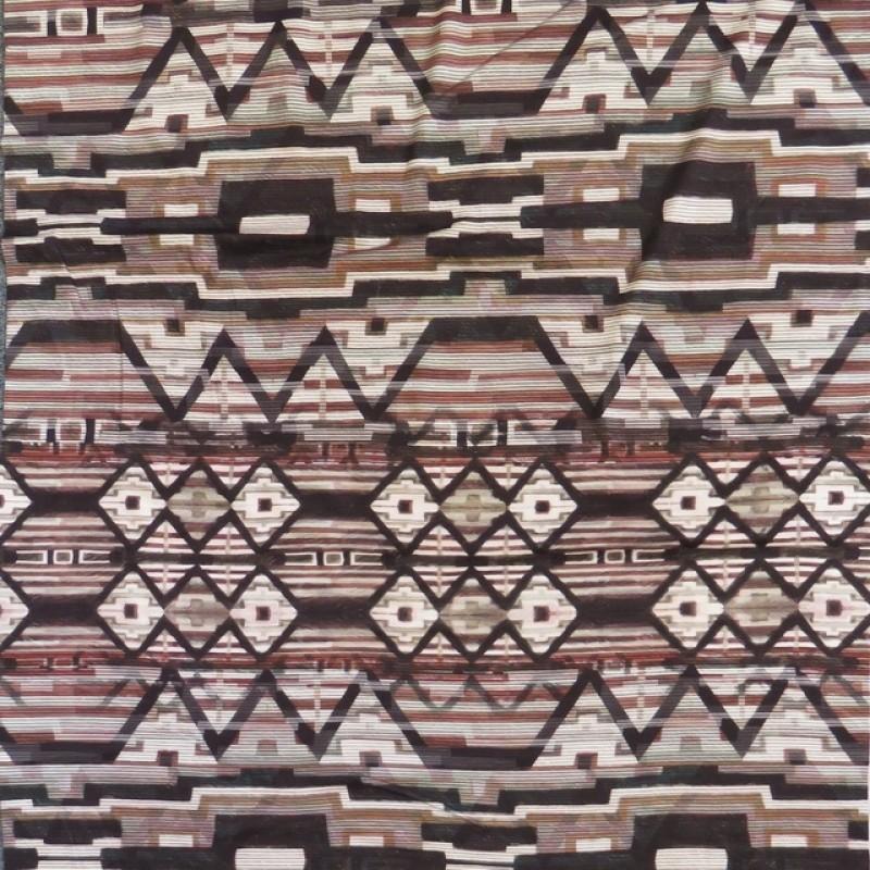 Afklip Viskose jersey med digitalt print striber og mønster i offwhite pudder-brun koks 100 cm.-321