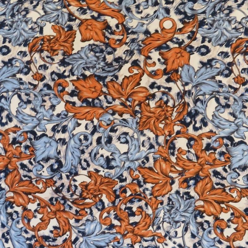 Viskose jersey med antik blomst i offwhite denim støvet orange-322