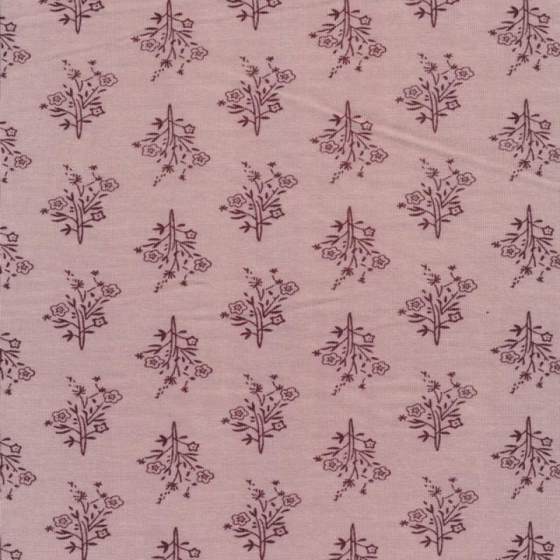 Afklip Jersey i Viscose i gammelrosa med blomsterbuket- 100 cm.