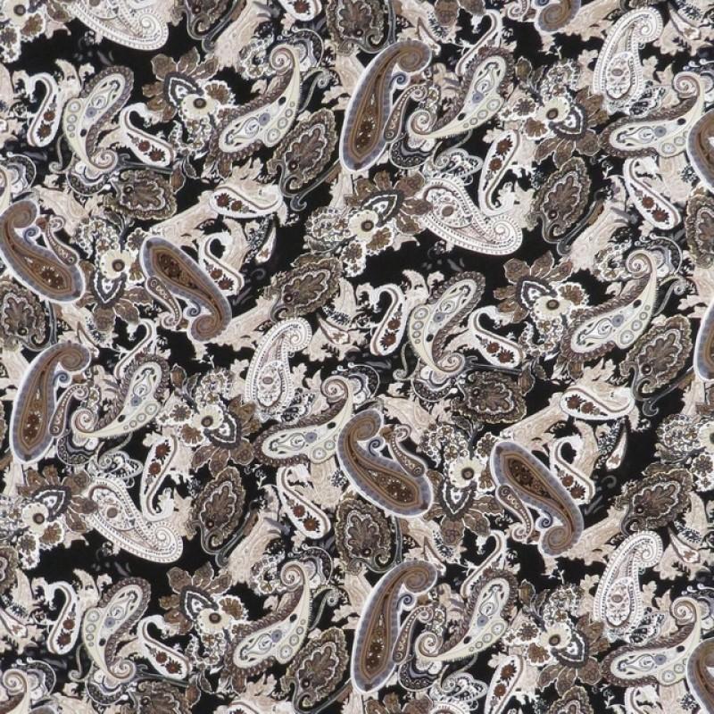 Jersey i Viscose med sjalsmønster i sort brun beige