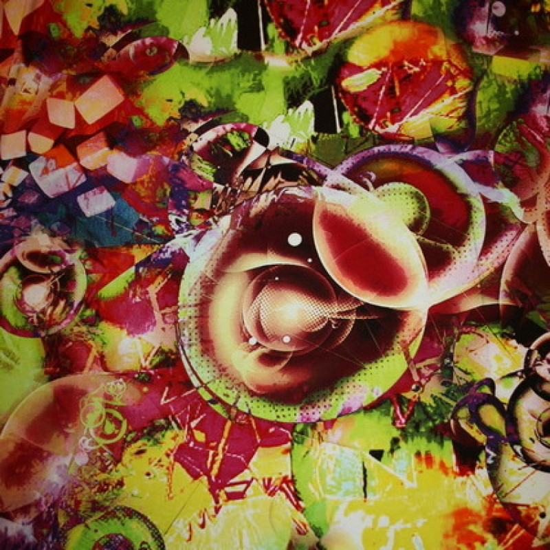Viscose/lycra m/digitalt print, lime/gul/rød-31