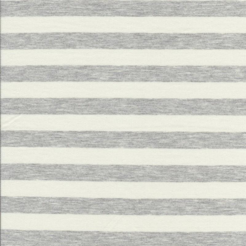 Rest Viskose jersey stribet knækket hvid og lysegrå meleret 65 cm.