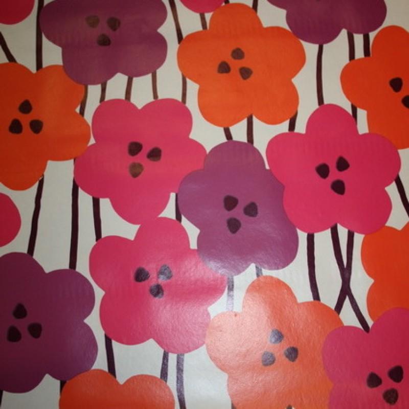 Voksdug m/blomster hvid/pink/lilla-35