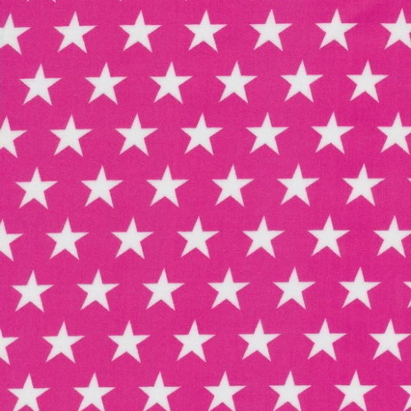 Coated bomuld/voksdug m/stjerner, pink/hvid-33