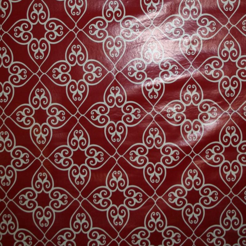 Voksdug rød med Rude-Blomst i hvid