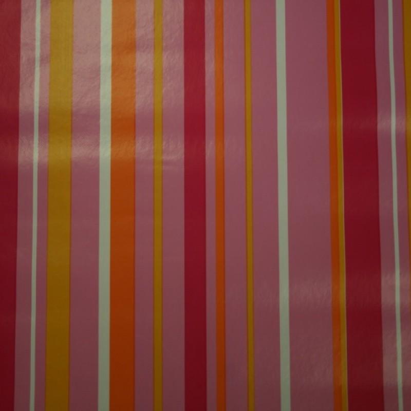 Voksdug stribet lyserød pink gul