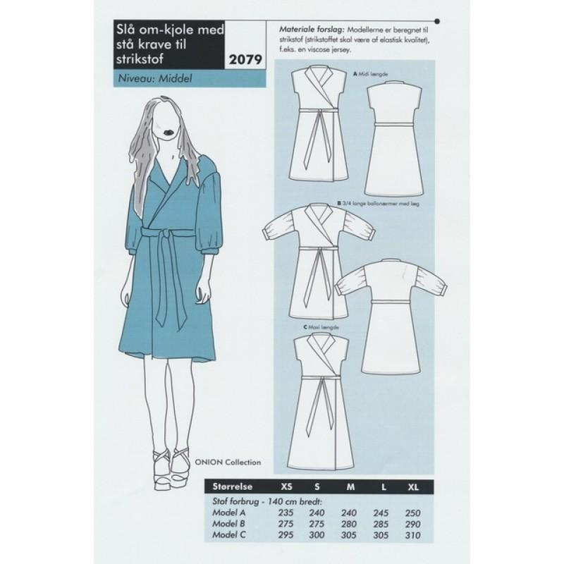 Onion 2079-Slå om-kjole med stå krave til strikstof-33