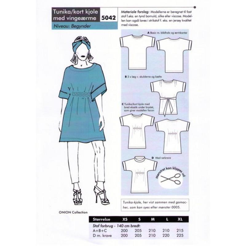 Onion 5042-Tunika-kort kjole med vingeærme-33
