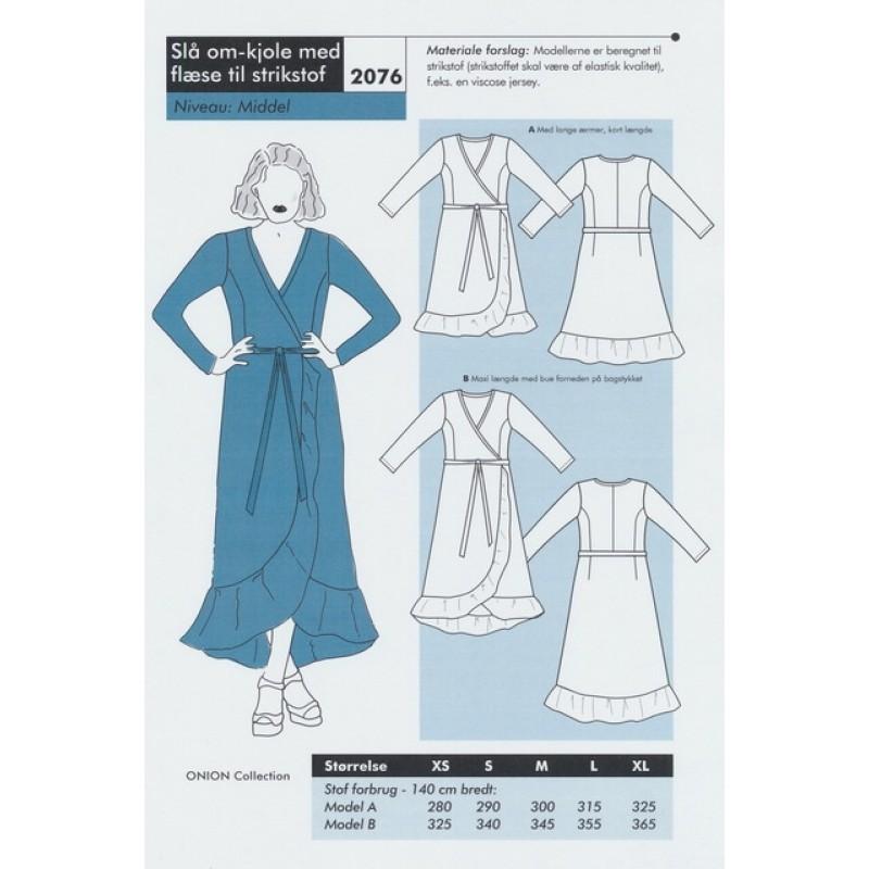 Onion 2076-Slå om-kjole med flæse til strikstof-32