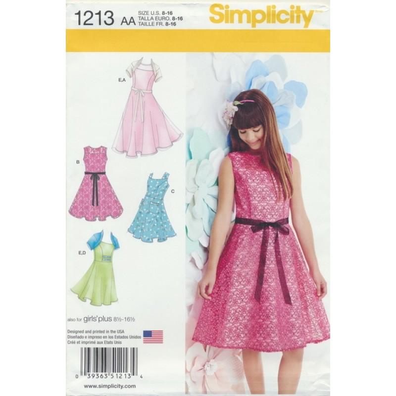 Simplicity 1213 Pige sommerkjole, festkjole og bolero-06
