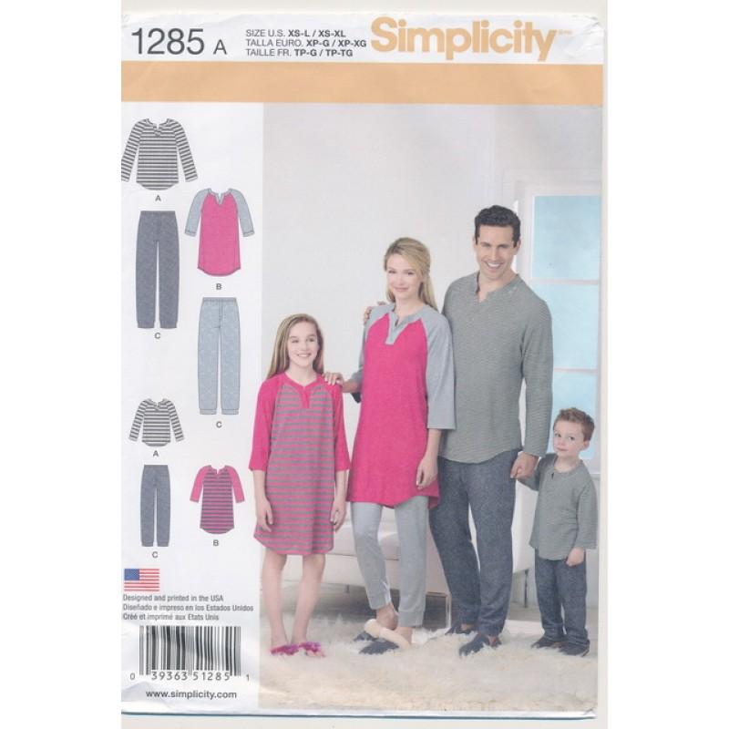 Simplicity 1285 Nattøj/pyjamas herre/dame/børn-33