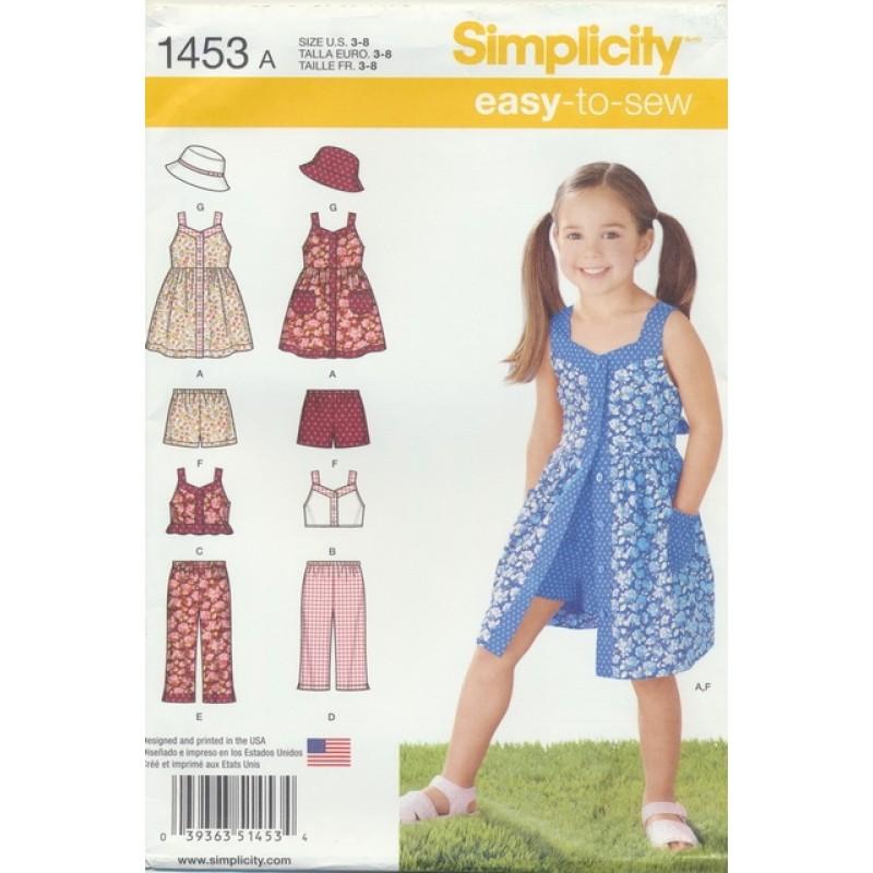 Simplicity 1453 Pige sommerkjole, buks bøllehat-04