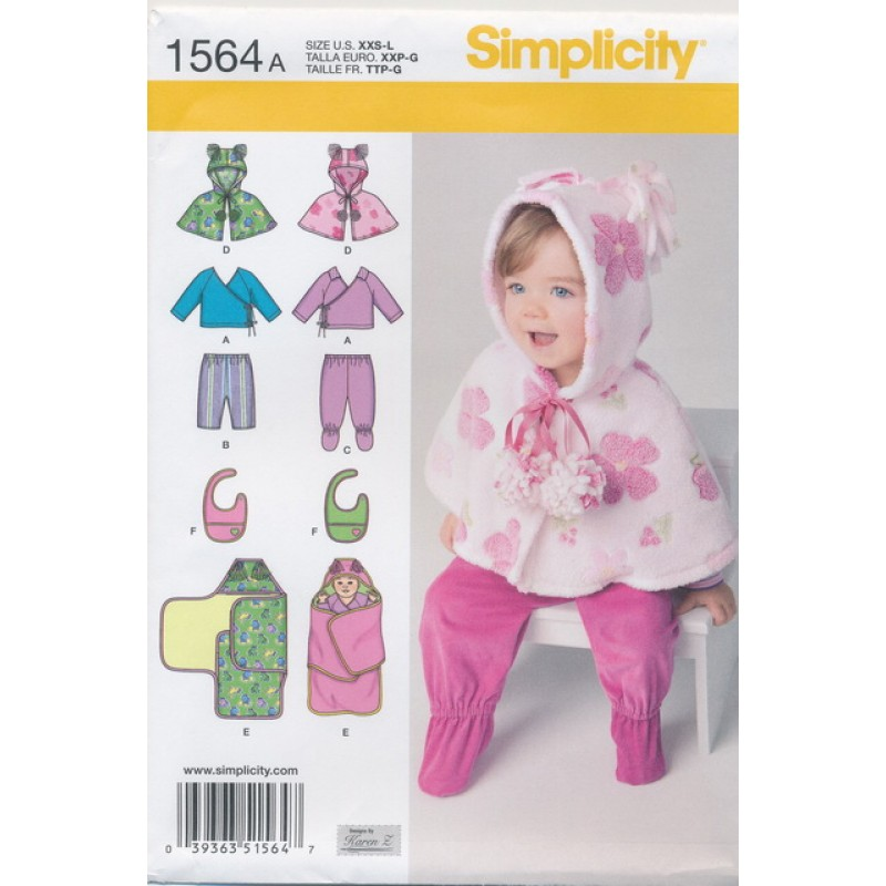 Simplicity 1564 Baby slag/bukser/bluse-31