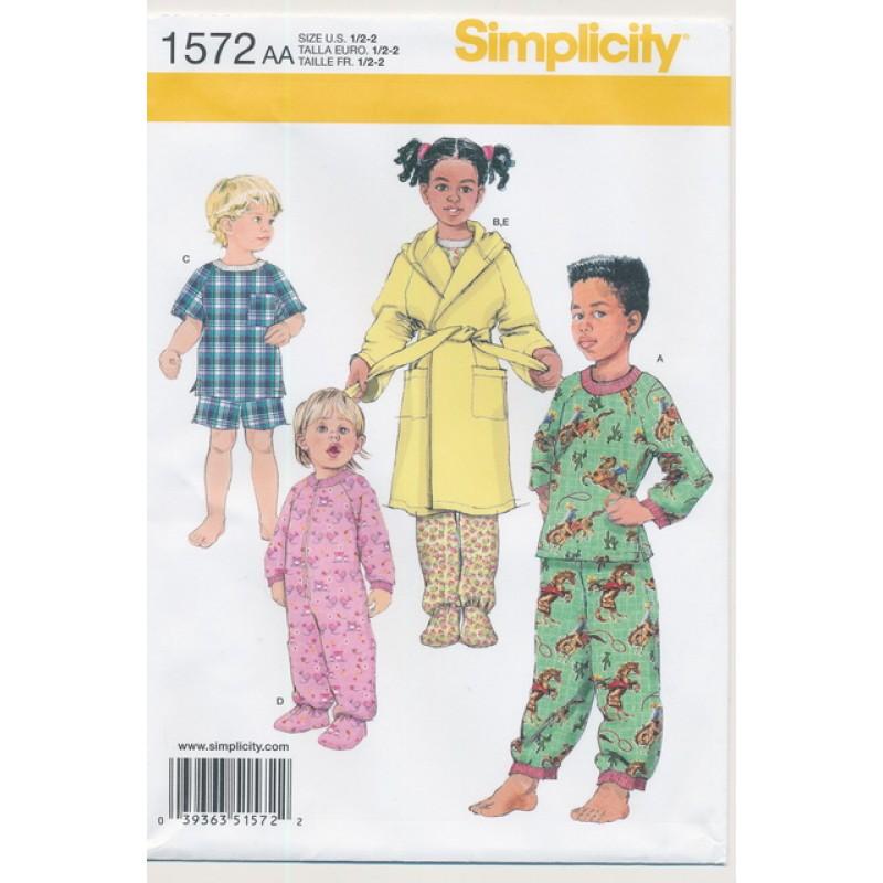 8b816ffc7 Simplicity 1572 Nattøj og Morgenkåbe str. ½ - 6 år