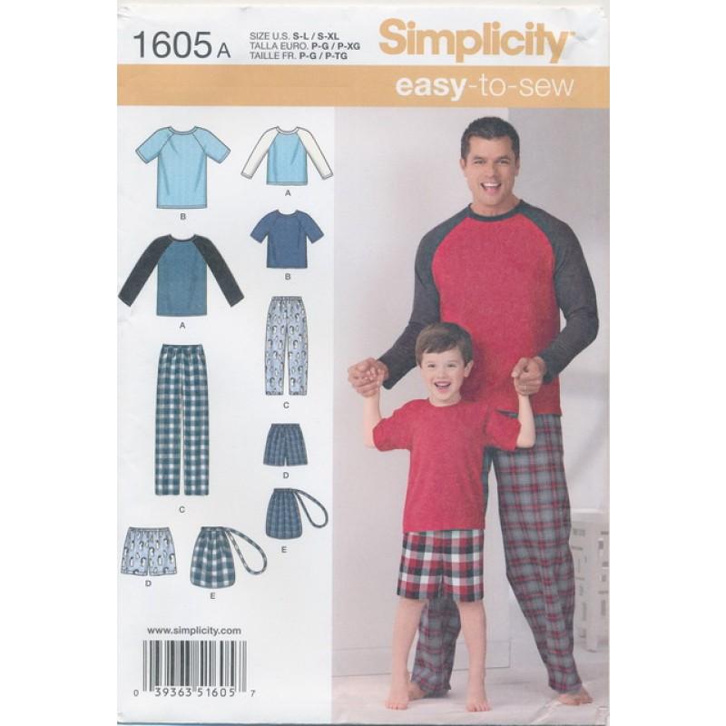 Simplicity 1605 Pyjamas buks T-shirt til dreng og voksen-35