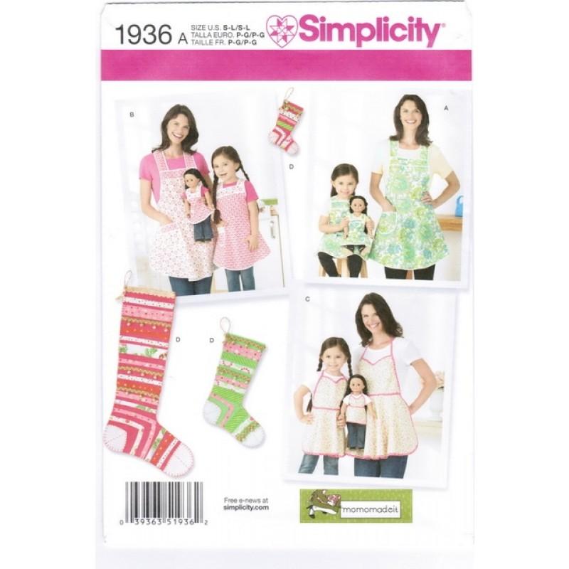 Simplicity 1936 Forklæde til mor/barn/dukke & sok
