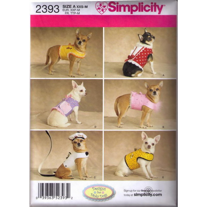 Simplicity 2393 Tøj til små hunde, vest-31