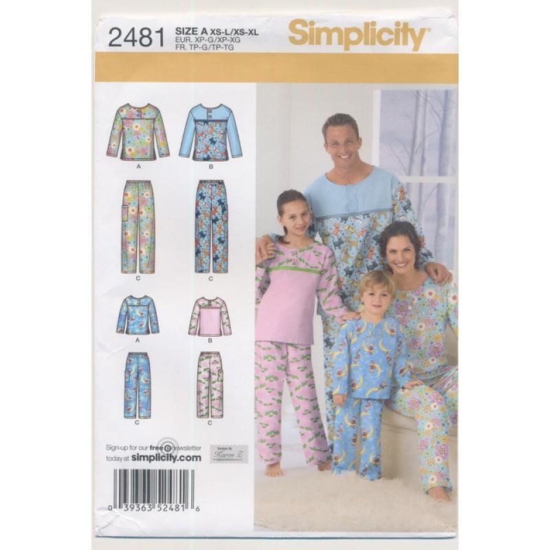 Simplicity 2481 Nattøj/pyjamas herre/dame/børn-35